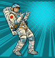 astronaut young man points vector image vector image