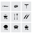 black barbecue icon set vector image vector image