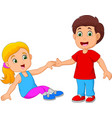 boy helping a girl stand up vector image vector image