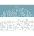 Business tools office workers - line design vector image
