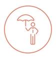 Businessman with umbrella line icon vector image
