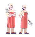 butchers couple flat characters restaurant chef vector image