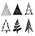 christmas tree doodle design vector image