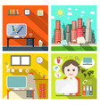 creative business backgrounds set with computers vector image vector image