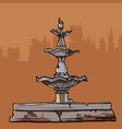 crumbling old fountain with four bowls vector image vector image