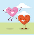 cute couple hearts love happy celebration vector image