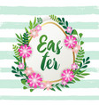decorative easter egg and spring flowers vector image vector image