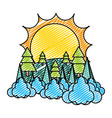 doodle nature sin pine tree with clouds vector image