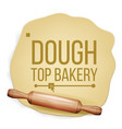 dough rolling pin top view preparing vector image