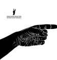 Finger pointing hand detailed black and white vector image vector image