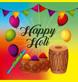 happy holi greeting card with balloons pennant vector image