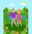 hello summer man and woman spend time together vector image vector image