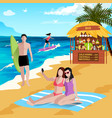 holidays at seaside background vector image vector image
