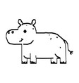 line drawing cute hippo cartoon hand drawn vector image