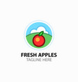 logotype with fresh red apple for fruit shop vector image