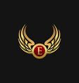 luxury letter e emblem wings logo design concept vector image vector image