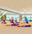 men and women in a yoga class vector image