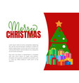 merry christmas greeting card with fir tree vector image vector image