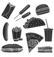 monochrome black fast food symbols set vector image