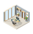 office isometric business interior with furniture vector image vector image