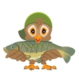 Owl holding fish Fisherman with catch vector image vector image
