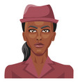 pretty african girl wearing a hat on white vector image vector image