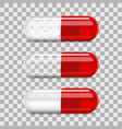 red transparent pill capsule 3d realistic mockup vector image