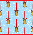 seamless pattern golden christmas bells vector image vector image