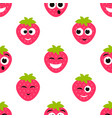 seamless pattern with red strawberry cute faces vector image vector image