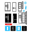 set contour and silhouette icons refrigerator vector image