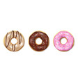 set donuts isolated on white tasty colorful vector image