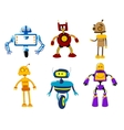 Set of cute colorful retro robot toys vector image vector image