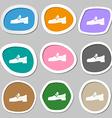 Shoe icon symbols Multicolored paper stickers vector image vector image
