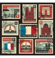 stamps on theme france vector image vector image
