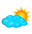 Sun behind clouds icon cartoon style vector image vector image