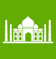 taj mahal icon green vector image