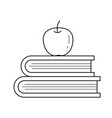 text books and apple line icon vector image vector image