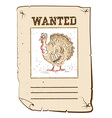 thanksgiving turkey wanted poster on western paper vector image vector image