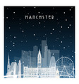 winter night in manchester night city in flat vector image