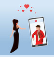 woman near mobile phone man on screen vector image vector image