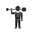 worker with shovel black concept icon vector image vector image