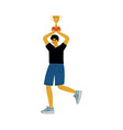 young man holding cup over his head happy vector image vector image
