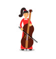 young woman playing cello cartoon character vector image vector image