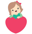 cute little girl leaning on a heart valentine vector image