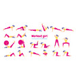 woman in gym set of gym icons in flat style vector image