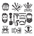 monochrome pictures of barber shop tools vector image