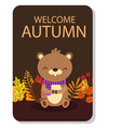 welcome autumn semicircle maple leaf background ve vector image