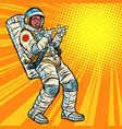 astronaut young man points african american vector image vector image