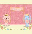 Baby shower pink and blue bunnies with placard