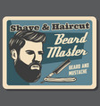 barbershop beard master retro shaving and haircut vector image